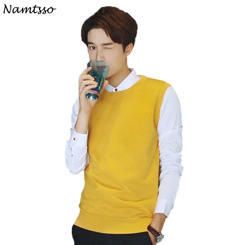 100% Cotton Vest Men 2018 Autumn Winter New Classic V-neck Sleeveless Sweater Knitwear Pull Brand base top Clothing 204