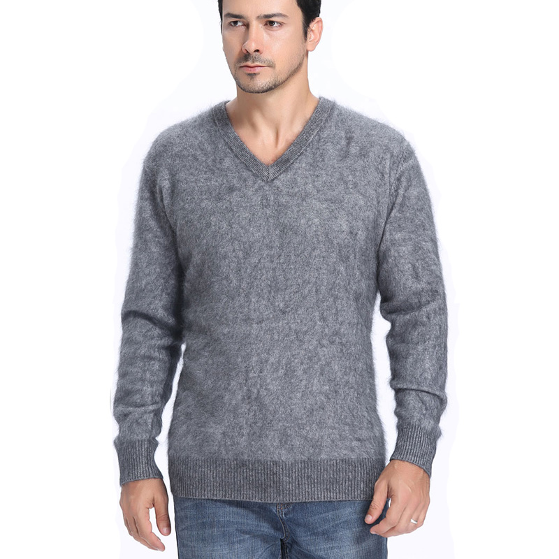 2018 Men's Fluffy Mink Cashmere Sweaters Winter Autumn Men V-Neck Long Sleeve Pullovers Soft Warm Knitwear Jersey Pulls Clothing