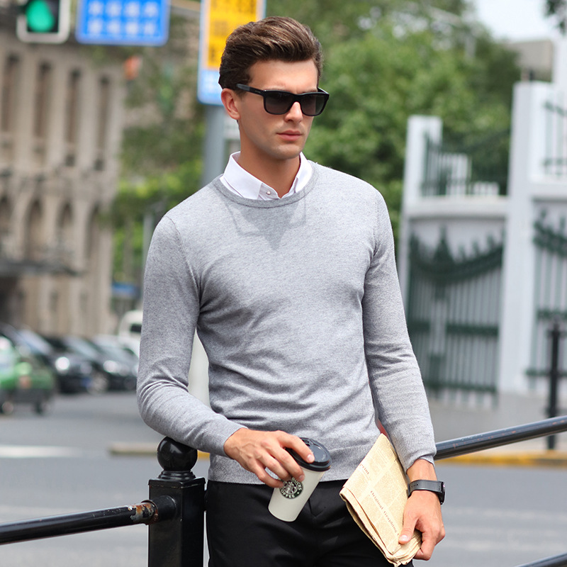 2018 Mens Long Sleeve Casual Sweater Pull Homme O-neck Collar Pure Color Sueter Jersey Hombre Knitted Pullover Uomo Sweaters Men
