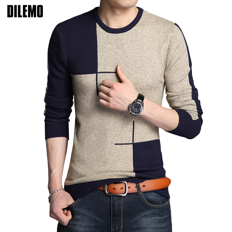 2018 New Autumn Winter Fashion Brand Clothing Pullover Mens Sweaters O Neck Contrast Color Slim Fit Breathable Sweaters For Men