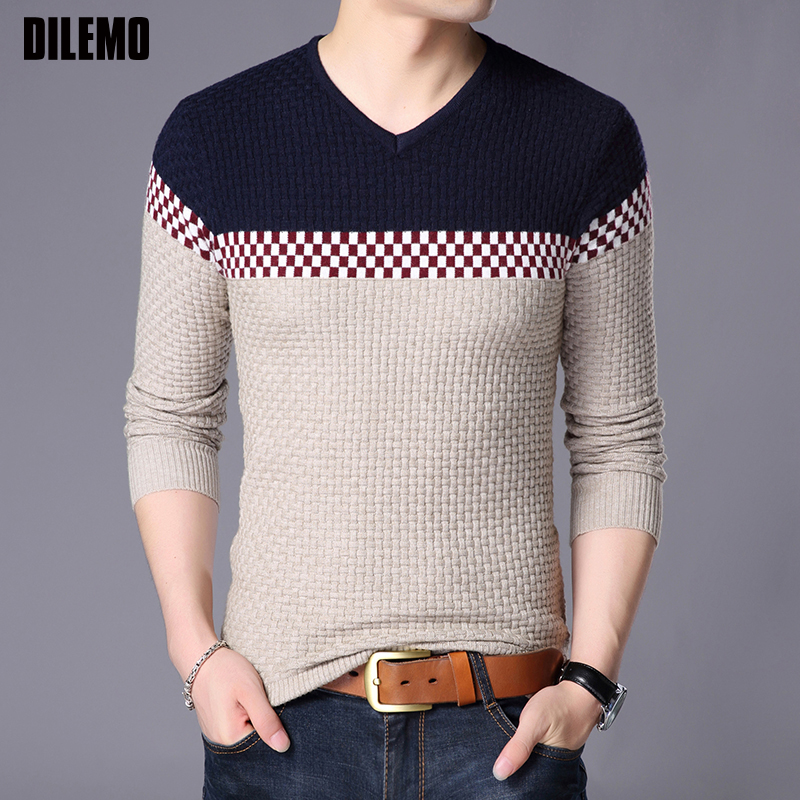 2018 New Fashion Brand Sweater Mens Pullover Slim Fit V Neck Jumpers Knitwear Woolen Autumn Korean Style Casual Mens Clothes