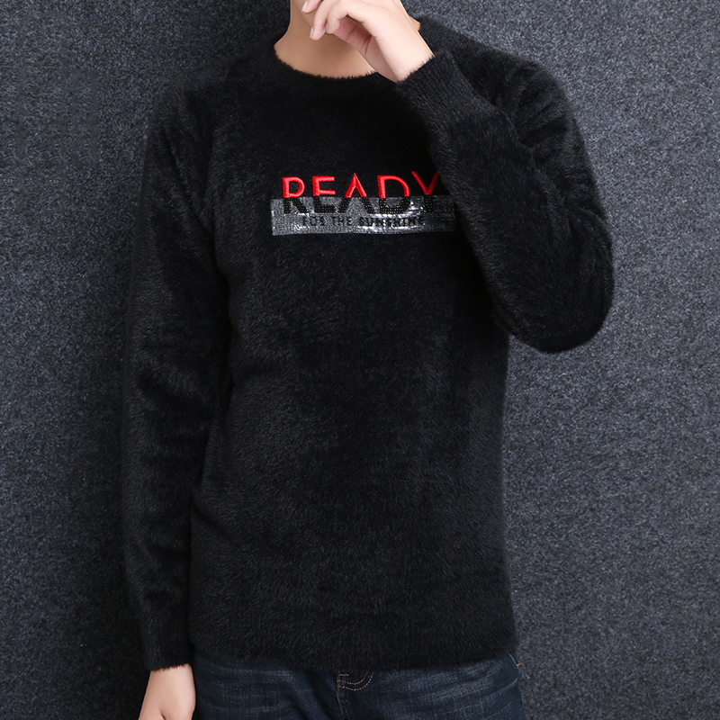 2018 New Fashion Brand Sweaters Men Pullover Letter Slim Fit Jumpers Knitwear Thick Winter Korean Style Casual Mens Clothes