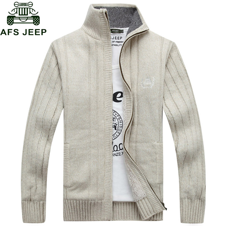 AFS JEEP 2018 Cardigan Men Sweater Stand Collar Fleece Warm Thick Velet Imported-clothing Sweater Men Outwear Big Size M-3XL
