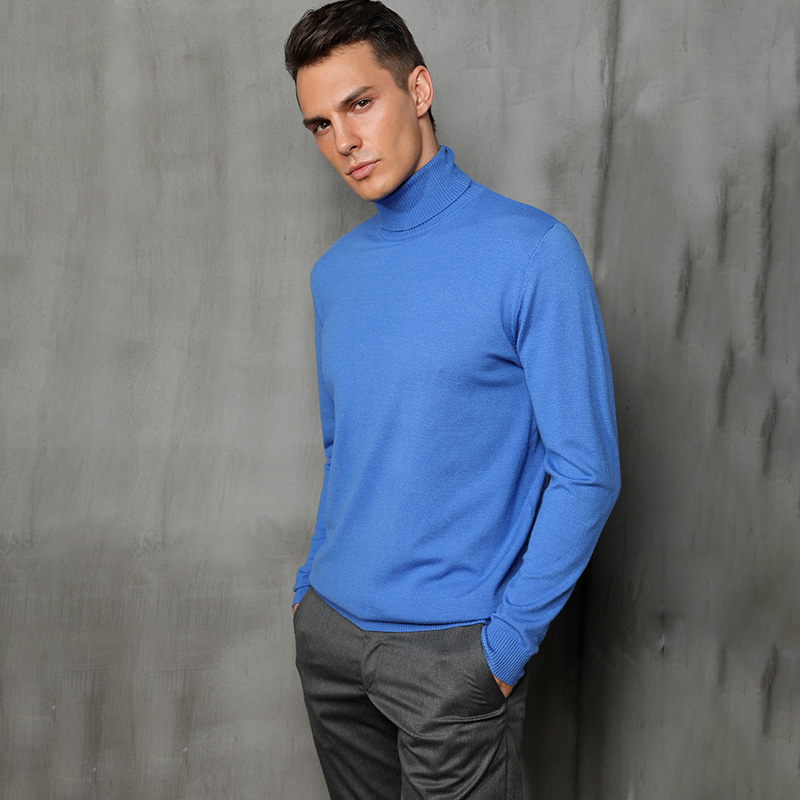 Autumn and winter new high-neck cashmere sweater men's loose pullover large size sweater business casual solid color sweater