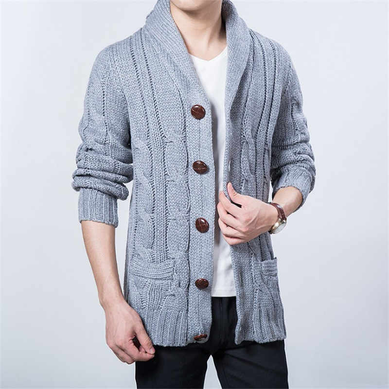 Big Size Thick Mens Knit Cardigan Sweaters 2018 Casual Turn-down Collar Boys Sweaters 2018 Winter Loose Men Knit Wear