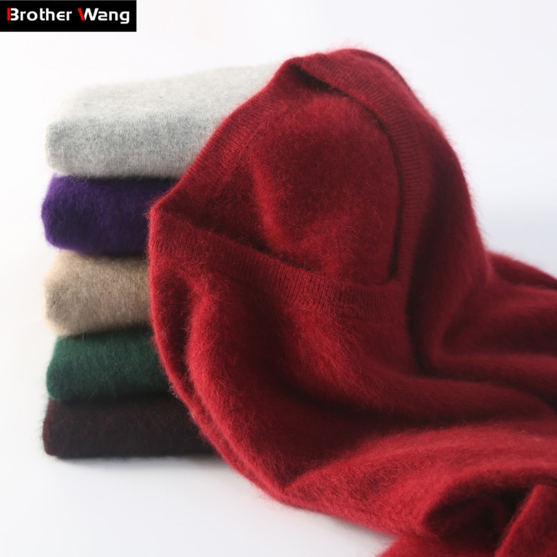 Brother Wang Brand 2018 Winter New Men's Wool Sweater Fashion Casual Thick Warm V-Collar Cashmere Pullover Sweater Male