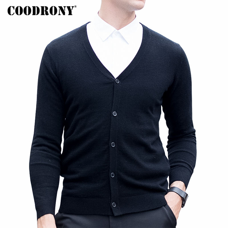 COODRONY Merino Wool Sweater Men Autumn Winter Warm Knitted Cashmere Sweaters Masculino Classic Casual V-Neck Cardigan Men 7330