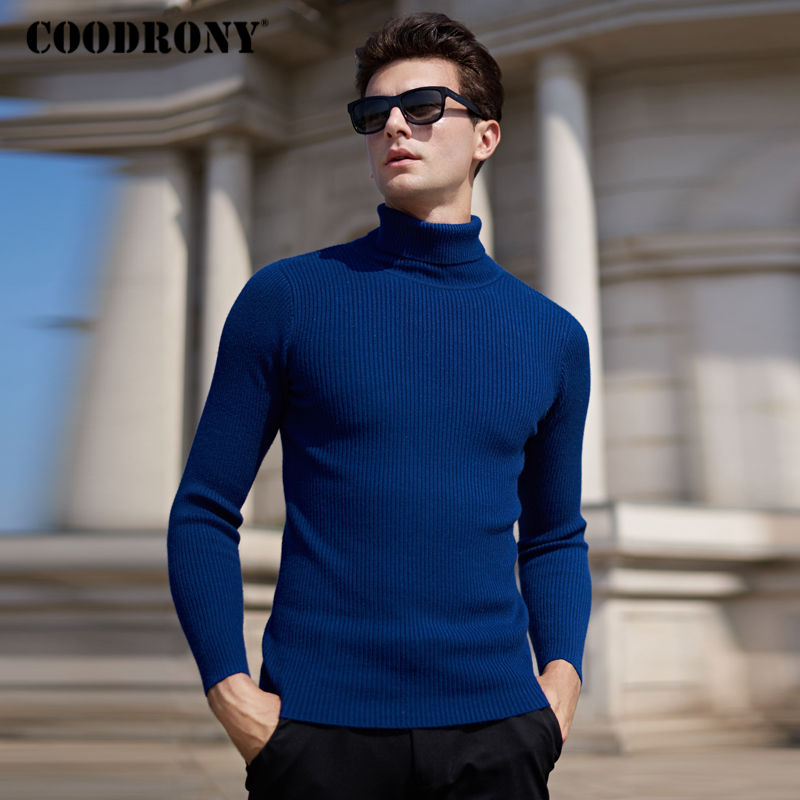 COODRONY Thick Warm Turtleneck Pullover Men Winter Christmas Sweater Men Solid Color Wool Pull Homme Soft Cashmere Sweaters 8202