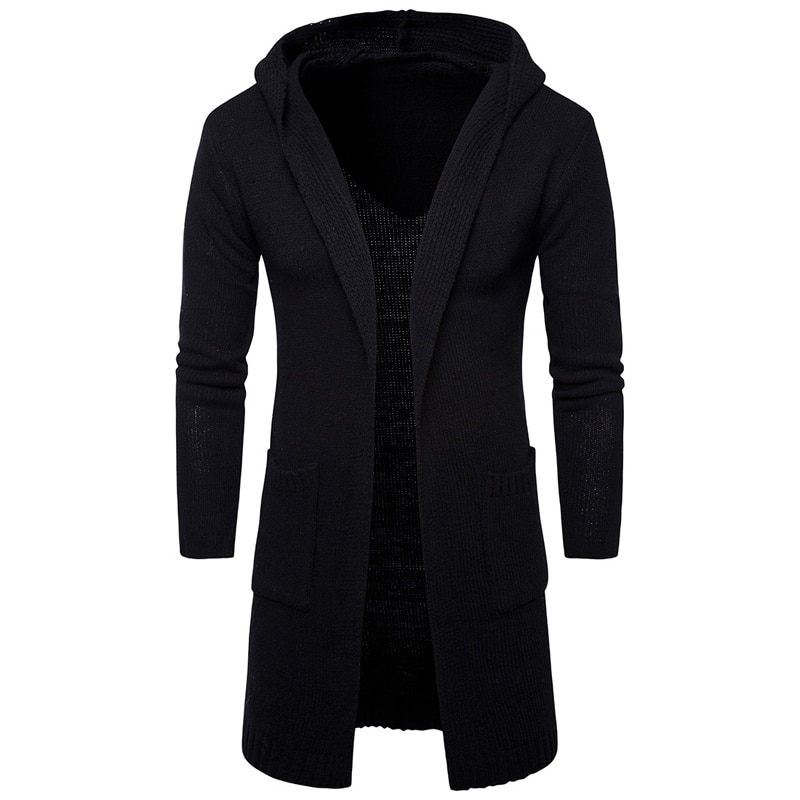 Free shipping 2018 Winter mens long sleeve hooded cardigan sweater thick coat casual mens knit sweaters fashion mens clothing
