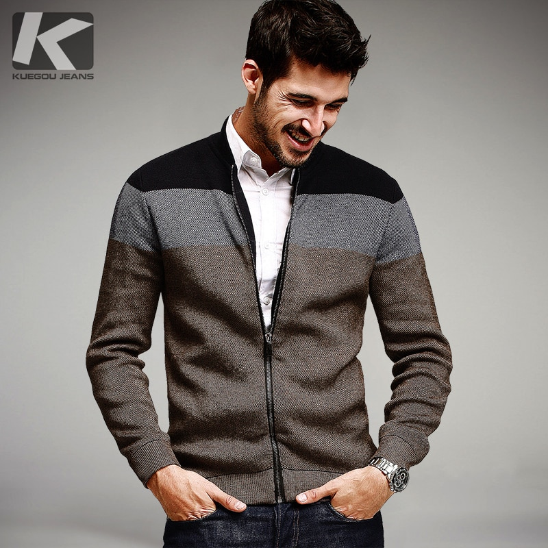 KUEGOU Autumn Mens Fashion Sweaters Patchwork Knitted Cardigan Knitting Brand Clothing Man's Knitwear Sweatercoats Tops 15813