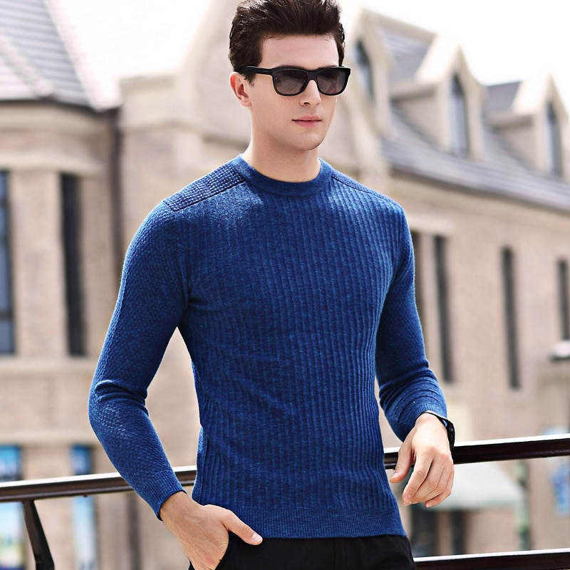 Korean men's wear autumn thin men's sweater slender long sleeve knitwear fashion casual plain color pullover