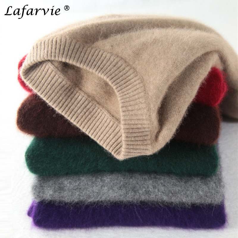 Lafarvie Fashion Mink Cashmere Blended Men Knitted Sweater Autumn Winter Off Sale Standard Solid Pullover Full Sleeve O-Neck