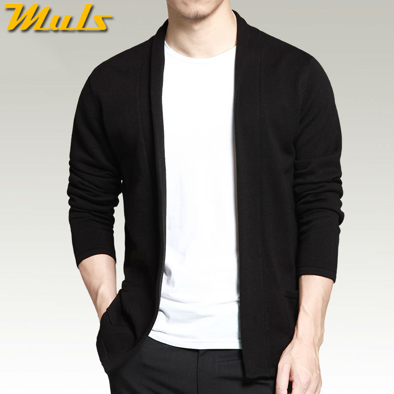 Men cardigan Shawl long sleeve black color Spring Autumn casual sweater cardigan men no button big size M-4XL MULS brand MS16001