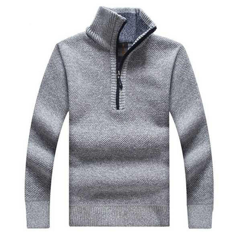 Men's Sweaters Thick Warm Winter Zipper Pullover Stand Collar Cashmere Wool Sweaters Man Casual Knitwear Fleece Velvet Clothing