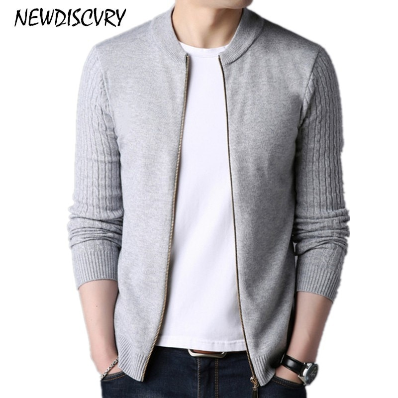 NEWDISCVRY Men's Zipper Cardigan Sweaters Casual Thick Warm Men Knitted Clothe 2018 Autumn Winter Pure Color Cotton Man Knitwear
