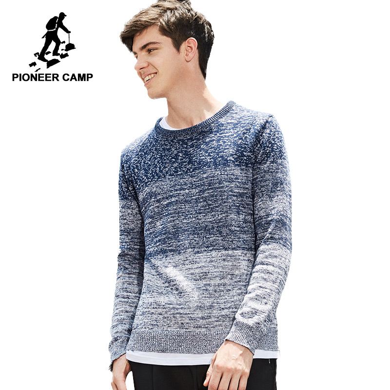 Pioneer Camp mens pullover famous brand autumn winter knitted sweaters male hit color top quality 100% cotton
