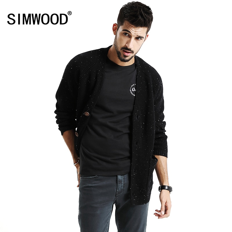 SIMWOOD 2018 Autumn Winter New Cardigan Men Christmas Gift Knitted Sweater Male High Quality Slim Fit Plus Size MK017004
