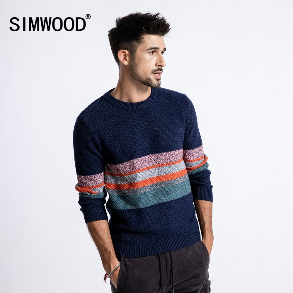 SIMWOOD 2018 Autumn Winter Sweater Men Slim Fit Contrast Color Knit Pullover Plus Size Male Brand Clothing 180585