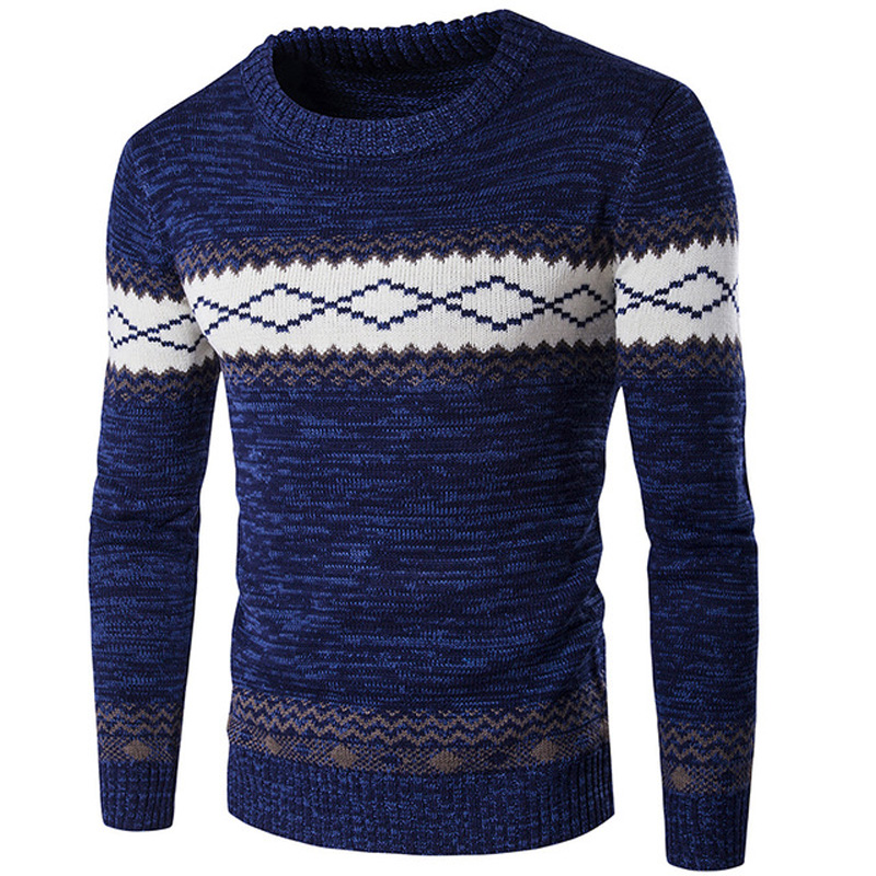 Sweater Men 2018 New Design Casual Pullover Men Autumn O-Neck Patchwork Quality Knitted Brand Mens Clothes Male Cotton Sweaters