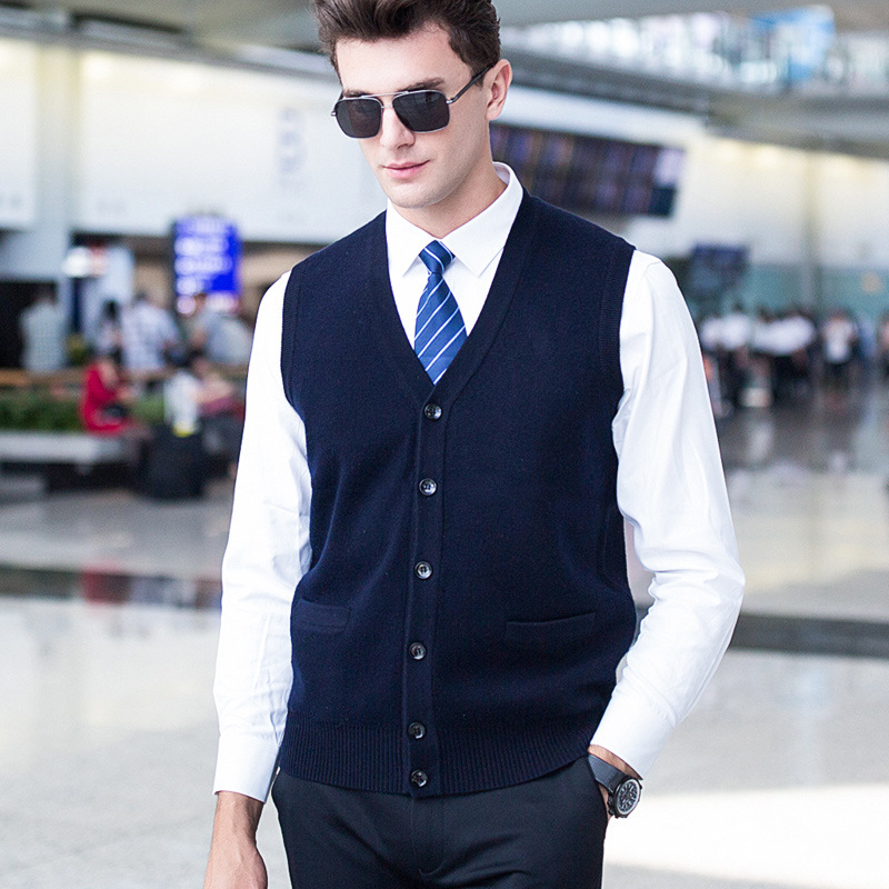Winter Men Pure Wool Vest Sleeveless Cardigan Sweater Male Casual V-neck Computer Knitted Single Breasted Thick size SMLXLXXL