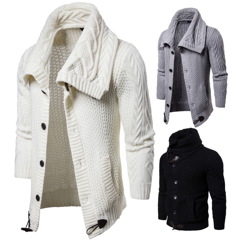 2018 Autumn winter men long sleeve sweater solid knitwear cardigan button jackets coats mens jumper casual ropa hombre invierno