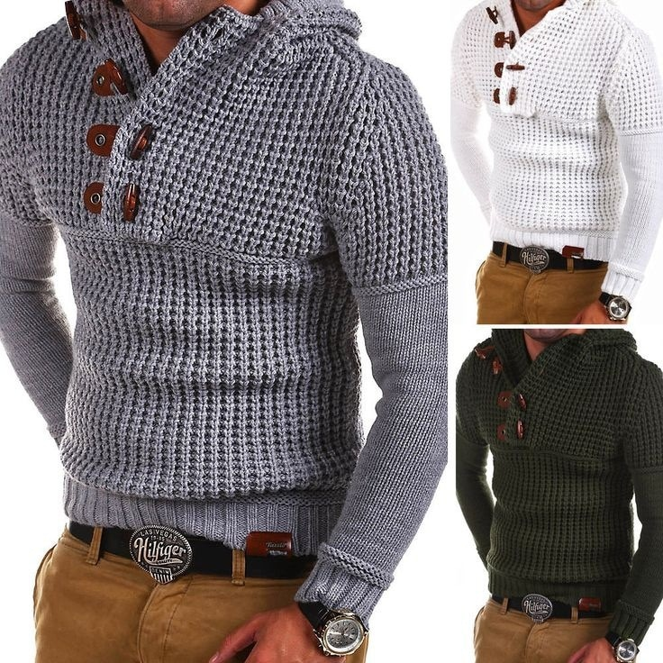 2018 Fashion Mens Wool Button Sweaters Men'S Thick White&Gray Stand Collar Pullover Korean Full Sleeves Slim Solid Mens Sweaters