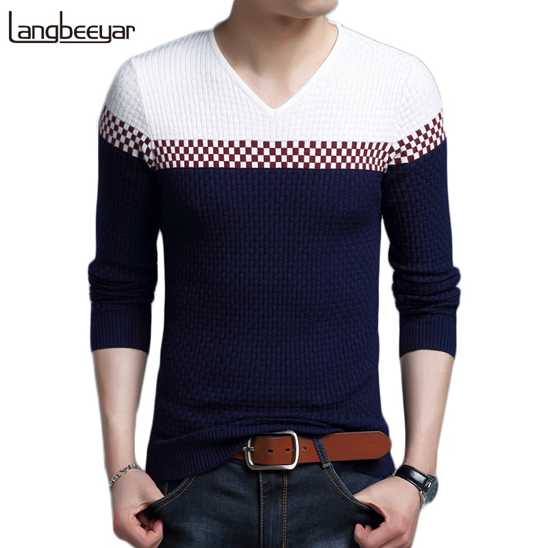 2018 New Autumn Winter Fashion Brand Clothing Men's Sweaters V Neck Slim Fit Men Pullover Breathable Knitted Sweater Men