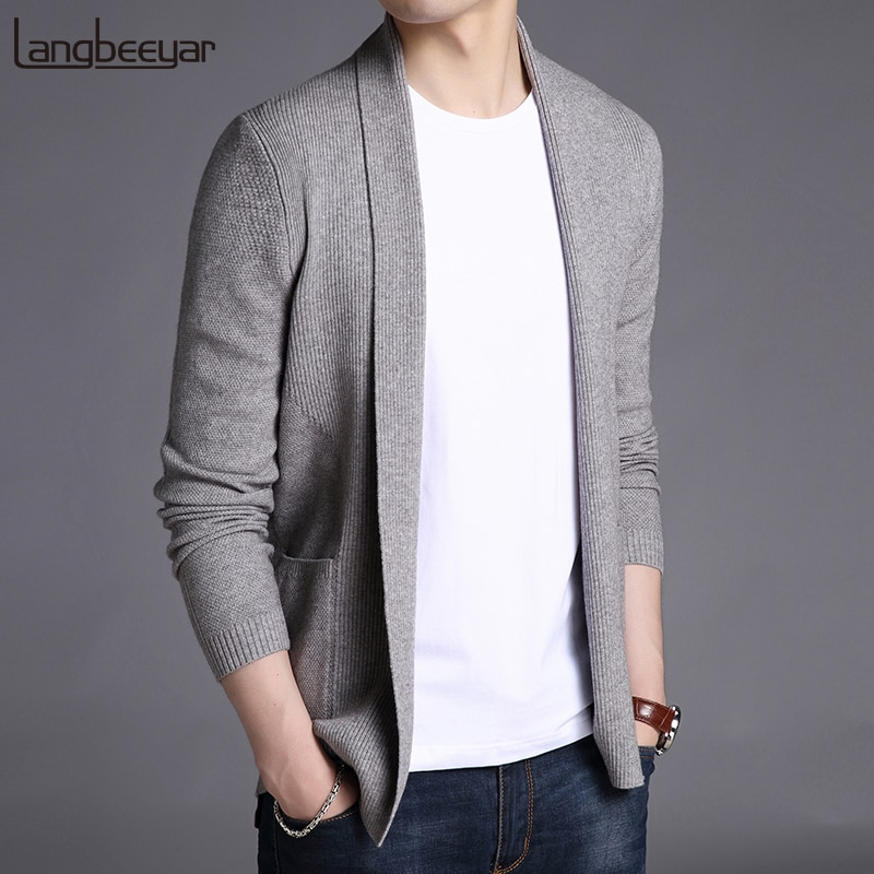 2018 New Fashion Brand Sweater For Mens Cardigan Long Slim Fit Jumpers Knitred Woolen Autumn Korean Style Casual Men Clothes