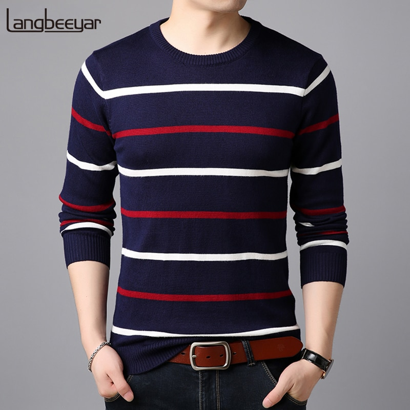 2018 New Fashion Brand Sweater For Mens Pullovers Stripe Slim Fit Jumpers Knitwear Autumn Warm Korean Style Casual Mens Clothes