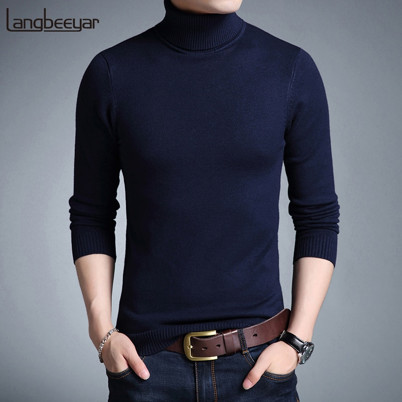 2018 New Fashion Brand Sweater Men Casual Classic Turtleneck Pull Homme Winter Soft Warm Solid Color Men's Pullover Sweaters