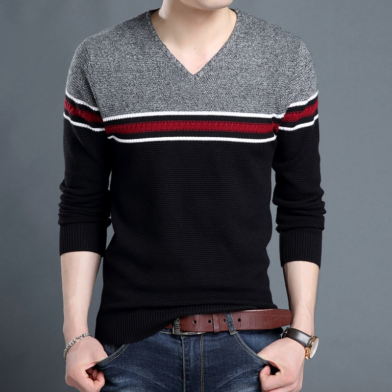 2018 New Fashion Brand Sweater Mens Pullover Woolen Slim Fit Jumpers Knitwear V Neck Autumn Korean Style Casual Mens Clothes
