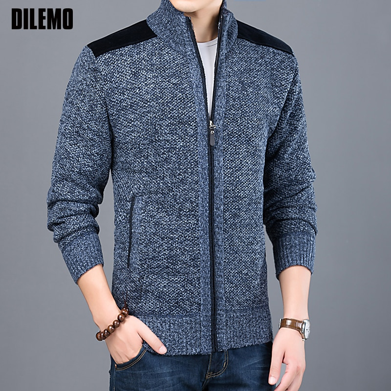 2018 Thick Warm New Fashion Brand Sweater For Mens Cardigan Slim Fit Jumpers Knitwear Autumn Korean Style Casual Clothing Male