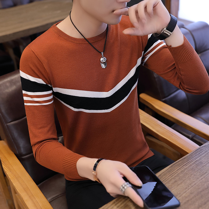 2018 o neck knitted slim fit pullover mens new men's Korean version sweater long sleeved sweater