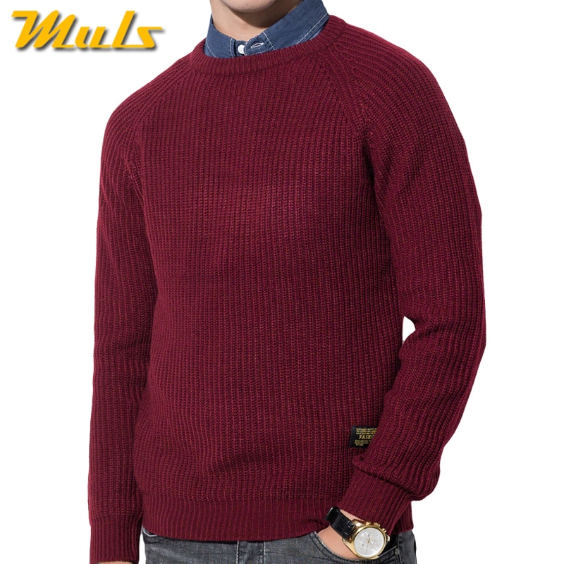 3Color Winter Men Pullover Sweaters Warm Thick Sweater Men Autumn Knited Male Pullover Jumper Navy Red Khaki Brand Muls M-4XL