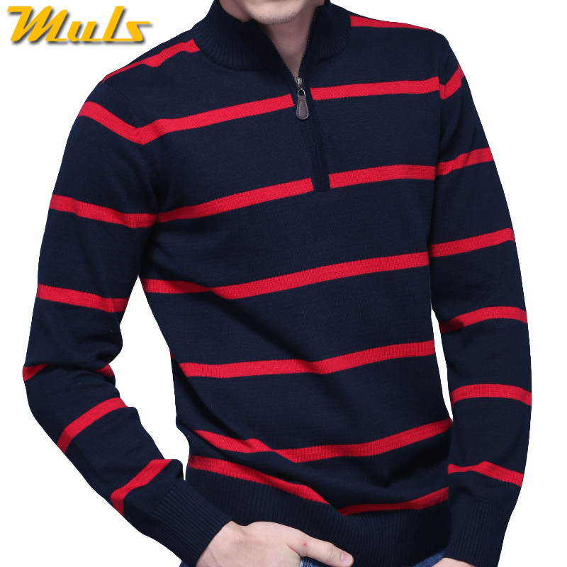 3Colors Muls Brand Polo Striped Sweater Men Pullover Winter Cotton Knitted Half Zipper Sweater Male Jumper Autumn Top Size M-3XL