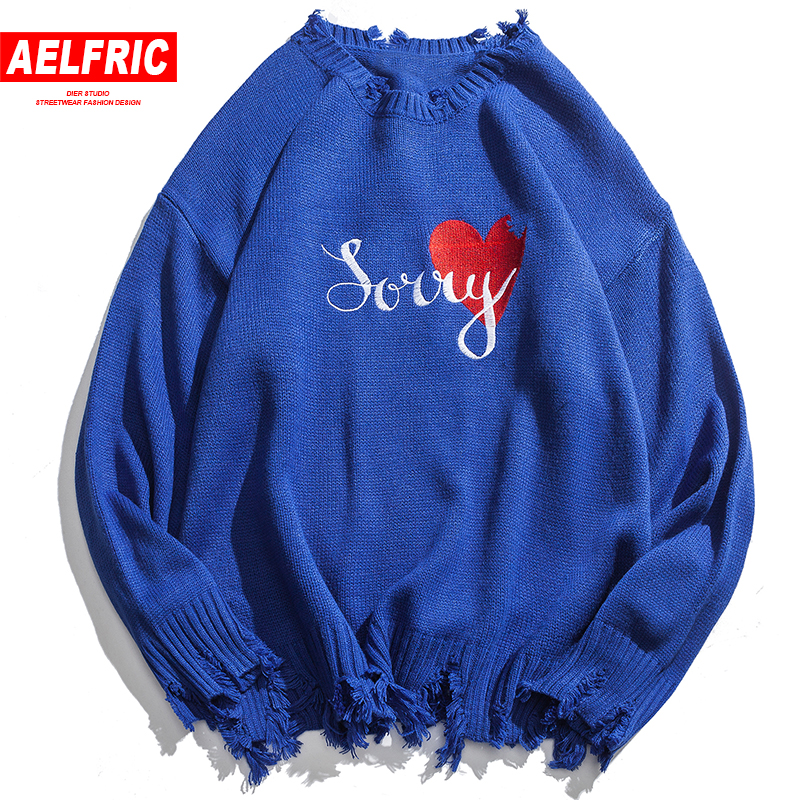 AELFRIC Mens Sweaters Fashion Frayed Design Pullovers Knitting Streetwear Letter Print Ripped Sweter Harajuku Knit Wear Cv09
