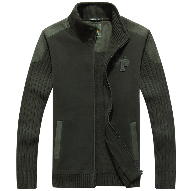 AFS Jeep High Quality Stand Collar Military Sweater,New Design Thick Fleece Inner Cardigan Keep Warmly Knitted Under wear