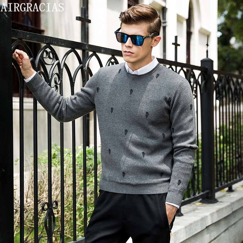 AIRGRACIAS 2017 New Autumn Fashion Brand Casual O-Neck Sweater Creative Floral Pattern Thin Wool Mens Sweaters Mens Pullovers