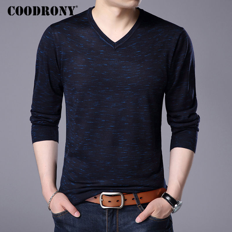 COODRONY 2017 Autumn Winter Warm Wool Sweaters Casual V-neck Pullover Men Brand Clothing Knitted Cashmere Sweater Pull Homme 156