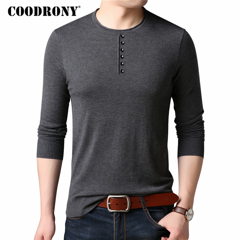 COODRONY Cashmere Sweater Men Clothes 2018 Autumn Winter Soft Warm Wool Sweaters Casual Button O-Neck Pullover Men Knitwear 8188
