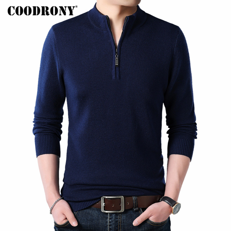 COODRONY Cashmere Sweater Men Clothes 2018 Autumn Winter Thick Warm Wool Pullover Men Casual Zipper Turtleneck Pull Homme 8142