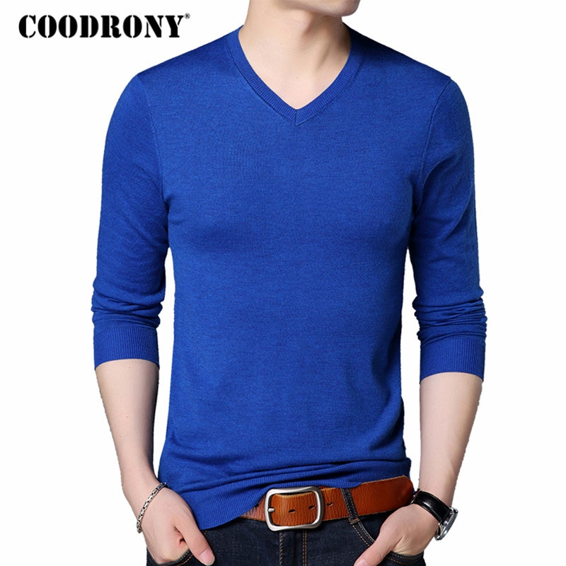 COODRONY Men Sweater Pure Color Casual V-Neck Pullover Men Clothes Autumn Winter Soft Warm Cashmere Wool Sweaters Pull Homme 200