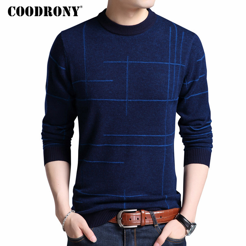 COODRONY Mens Knitted Sweaters Autumn Winter Thick Warm Merino Wool Pullover Men Casual O-Neck Pull Homme Jumper Sweater Men 324