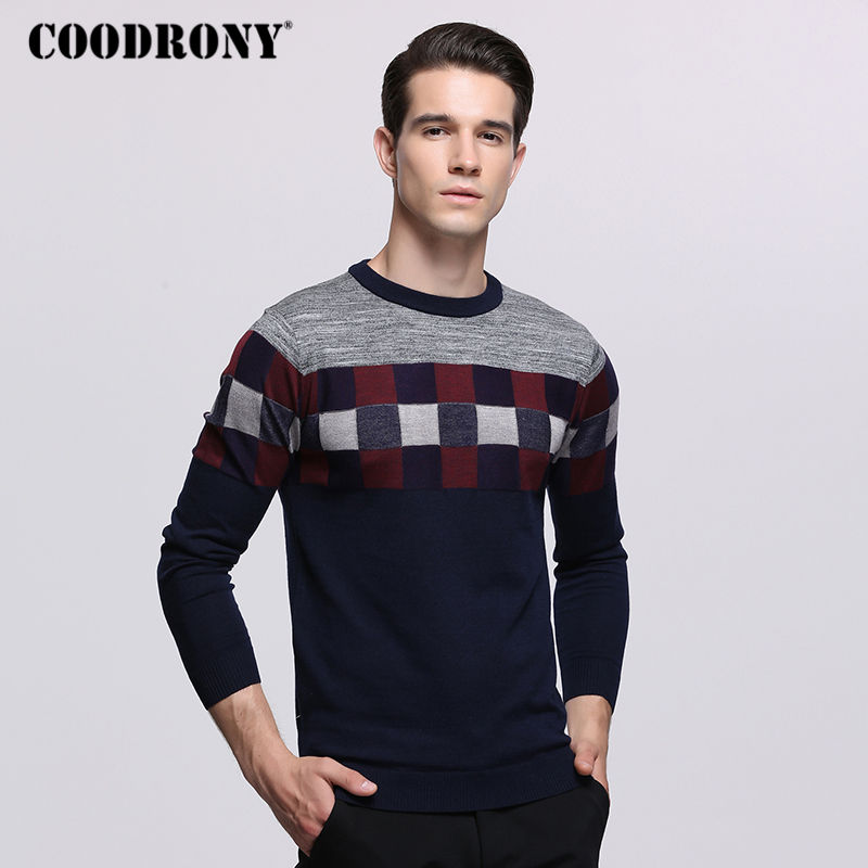 COODRONY Mens Sweaters For 2018 Autumn Winter Knitted Wool Sweater Men Casual Plaid O-Neck Pull Homme Cashmere Pullover Men 7235