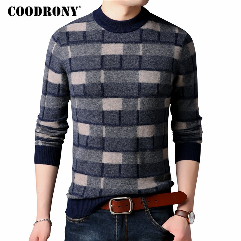 COODRONY Merino Wool Sweater Men Fashion Plaid O-Neck Pullover Men 2018 Winter New Arrival Thick Warm Soft Cashmere Sweaters 310