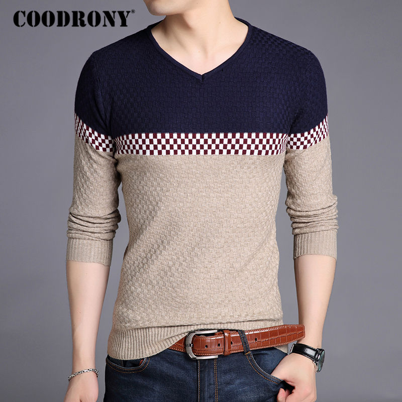 COODRONY Sweater Men 2017 Autumn Winter New Casual Patchwork V-Neck Pull Homme Mens Knitted Sweaters Thin Pullover Shirt Men 213