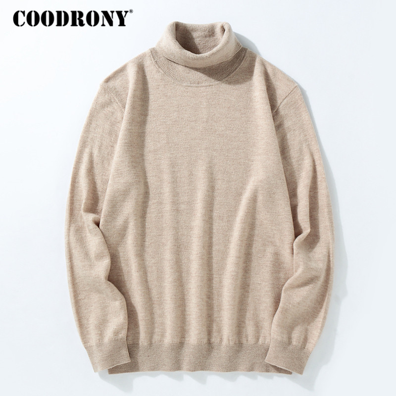 COODRONY Sweater Men 2018 Winter Thick Warm 100% Merino Wool Sweaters Classic Pure Color Turtleneck Pullover Men Cashmere Pull