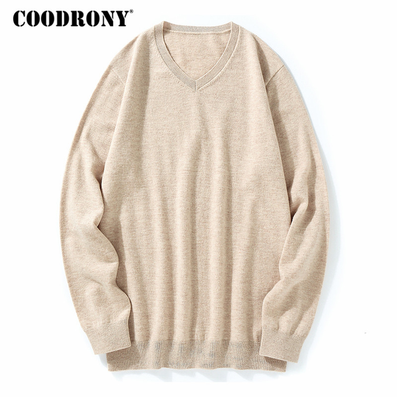 COODRONY Sweater Men Classic Pure Color V-Neck Cashmere Pullover Men Clothes 2018 Winter Thick Warm 100% Merino Wool Sweaters 03