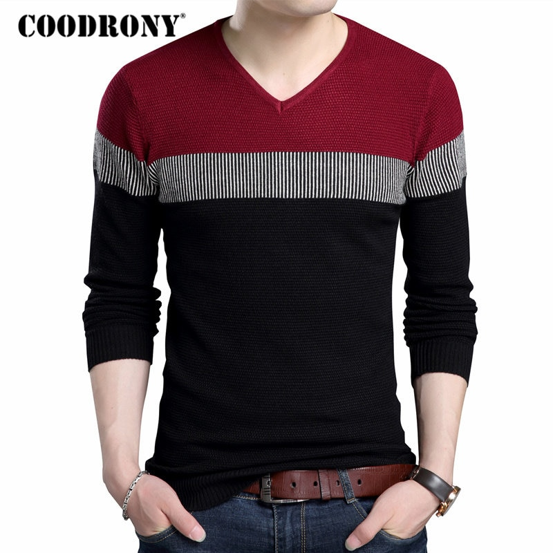 COODRONY V-Neck Pullover Men 2018 Autumn Winter Brand Clothing Slim Fit Cotton Knitwear Pull Homme Thick Wool Sweater Men 7149