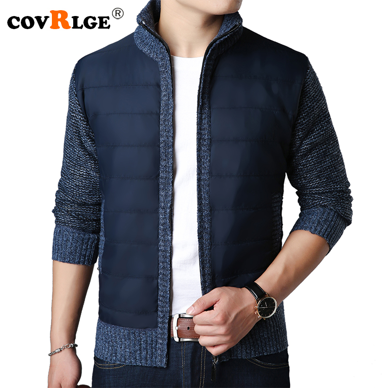 Covrlge 2018 Winter Men Warm Cardigan Sweater Coat Fashion Patchwork Male Thicker Parkas Jacket Casual Mens Knittwear MZM041